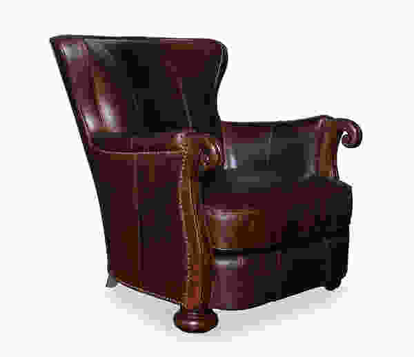 Kennedy walnut leather lounge chair with wood sofas and