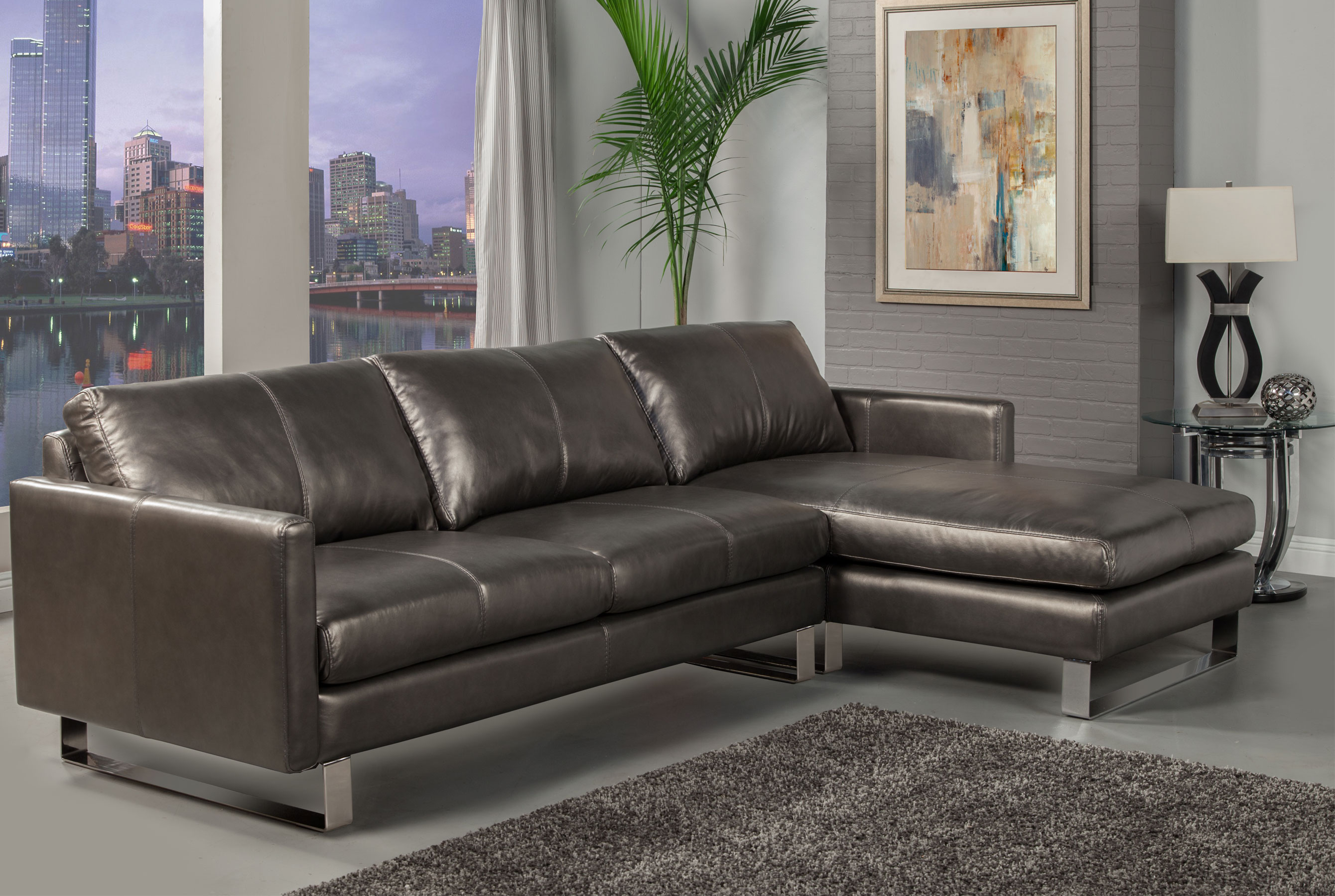 Excellent Concord Stationary Sectional All Leather Sofas And Ocoug Best Dining Table And Chair Ideas Images Ocougorg