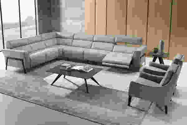 Eleganza C021 **100% Top Grain Leather** Power Reclining Sectional