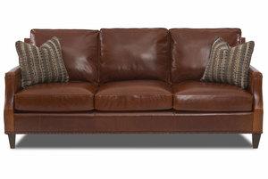 Bond 87 Top Grain Leather Sofa W Down Cushion