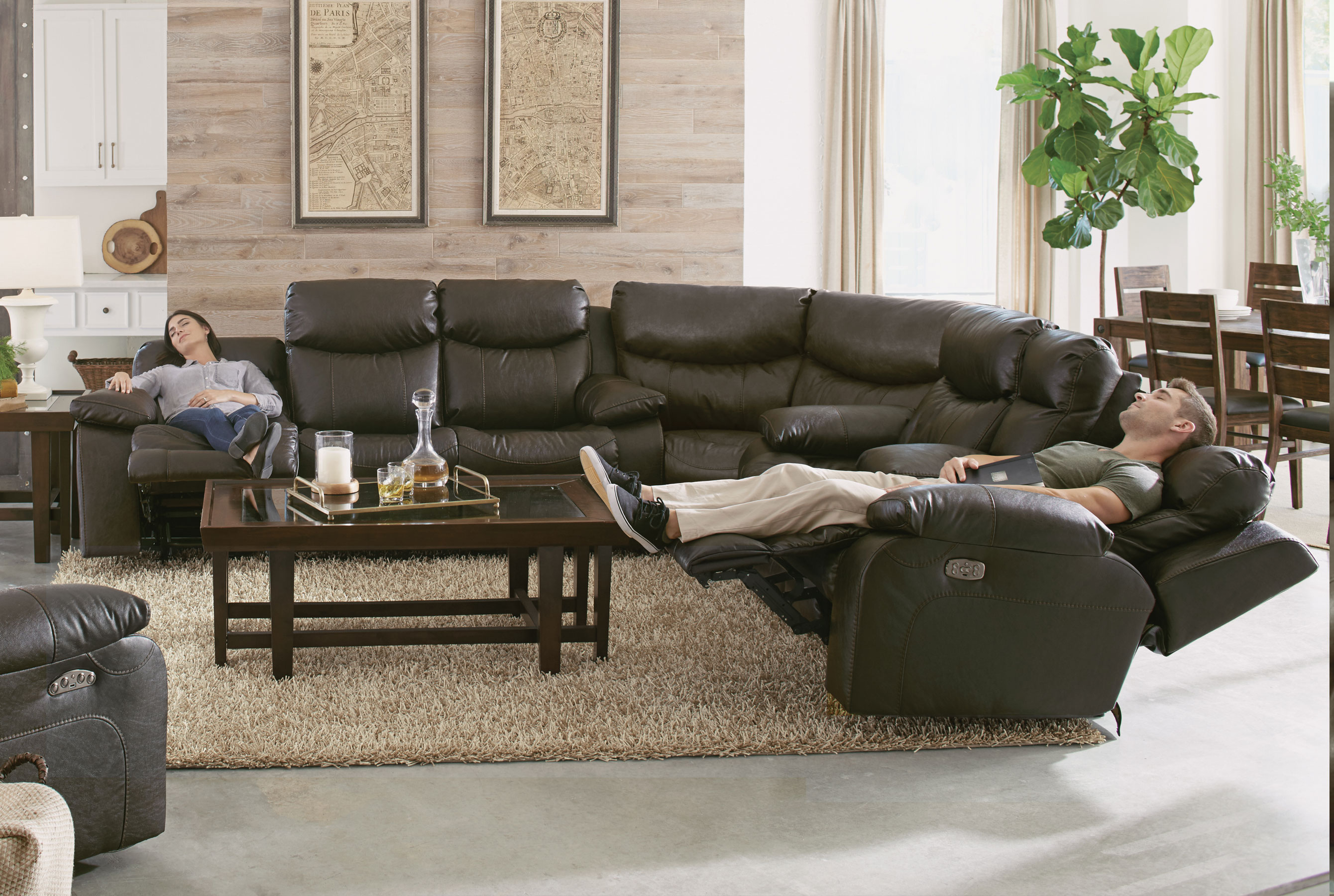 by damacio power ashley reclining sectional raf design signature brown dark leather