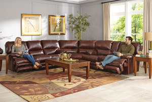 Austin 3 Piece Reclining Sectional With Exended Ottomans