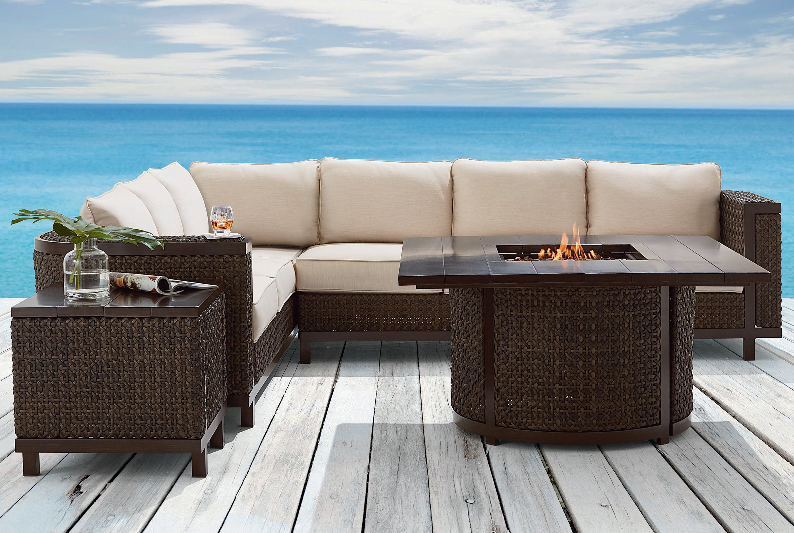 Brentwood Outdoor Wicker 3 Piece Sectional. By ART Furniture