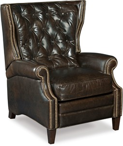 Collin All Leather Recliner w/ Nailhead Trim and Button Tufting