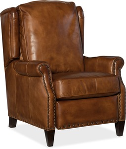 Silas All Leather Recliner w/ Nail Head Trim