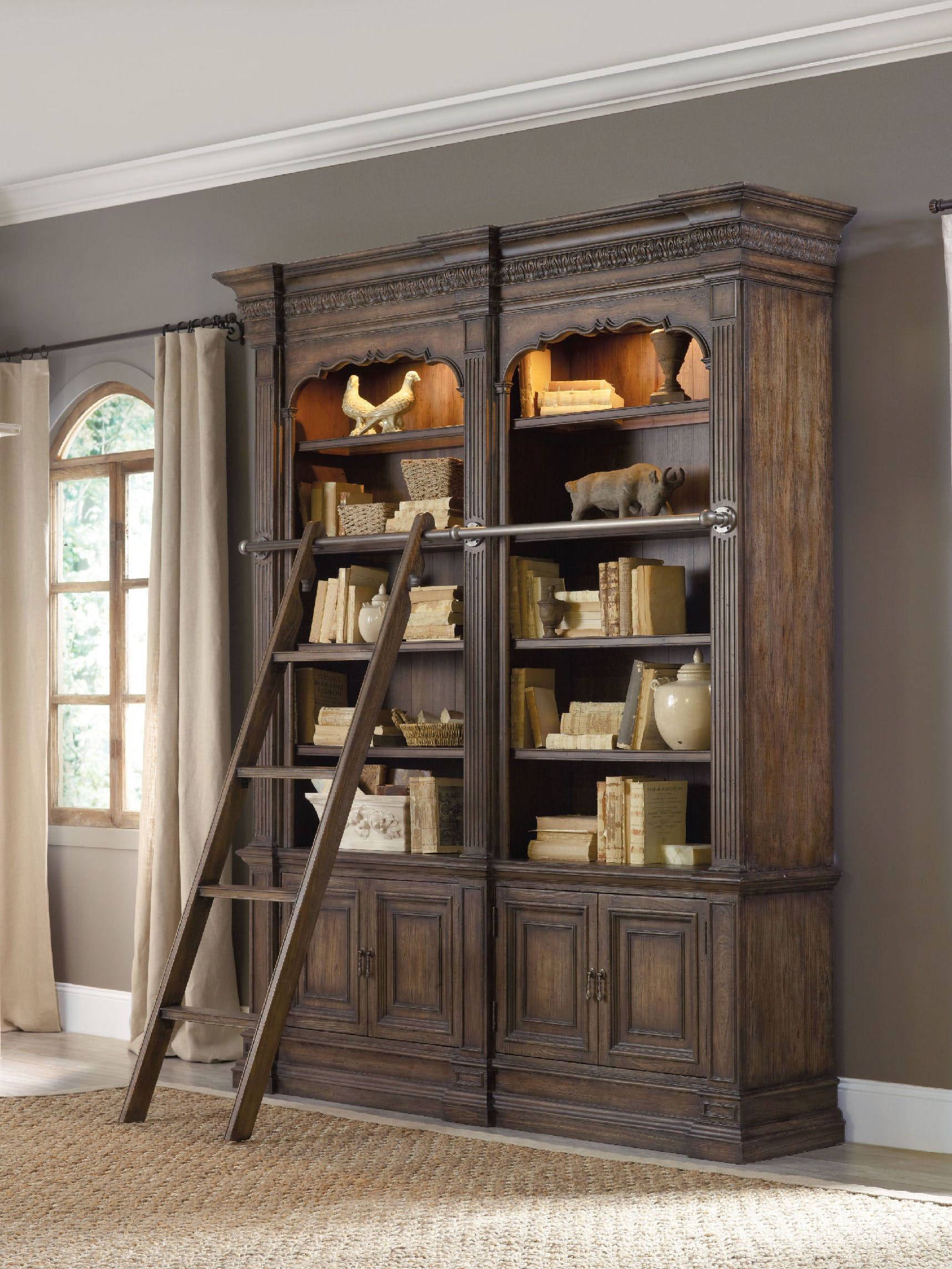 Rhapsody Double Bookcase With Ladder And Rail Sofas And