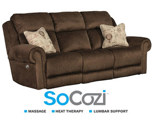 Canyon Ranch Reclining Sofa w/ Massage + Heat + Lumbar + Free Power Headrest