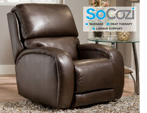 Fandango Rocker Recliner w/ Heat + Massage + Lumbar + Free Power Headrest