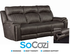 Silver Screen Power Reclining Sofa w/ Heat + Massage + Lumbar