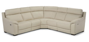 C127 100% Top Grain Leather Reclining Sectional w/ Power Headrest