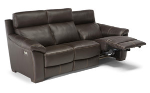 C127 Top Grain Leather Reclining Sofa w/ Power Headrest