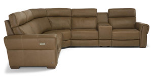 Soave C119 Power Reclining Sectional w/ Power Headrest (Top Grain Leather)