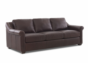 "NEW - Nyree 96"" All Leather Sofa w/ Down Seating Cushions"