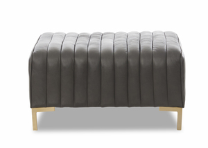 Russell Contemporary Top Grain Leather Ottoman