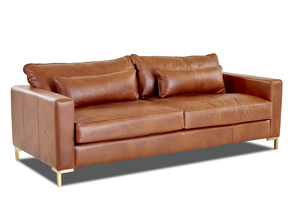 "NEW - Spencer 89"" Modern Leather Sofa w/ Down Cushions"