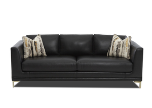 "NEW - Ellis 93"" All Leather Modern Sofa"