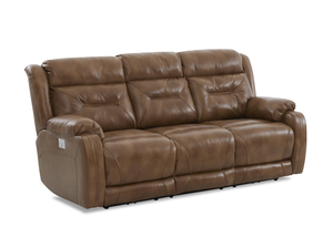 NEW - Tony Leather Power Reclining Sofa w/ Power Headrest (Power Lumbar Option)