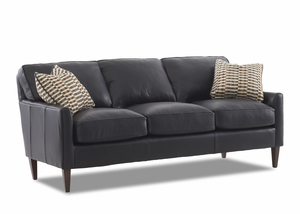 "NEW - Tribecca Top Grain Leather 80"" Sofa w/ Down Cushions"