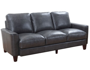 "Chino 82"" All Leather Sofa in Grey"