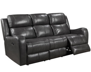 Cortana Power Leather Reclining Sofa (Black)