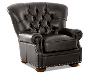 Baldwin Leather Down Blend Accent Chair and Ottoman
