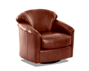 Charley Leather Swivel Gliding Accent Chair (3 Colors)