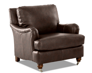 Charlotte Leather Accent Chair and Ottoman (Choice of Colors)