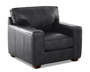 Drake Leather Down Blend Accent Chair and Ottoman (Choice of 3 Colors)