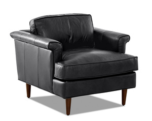 Malcolm Leather Down Blend Accent Chair and Ottoman (2 Colors)