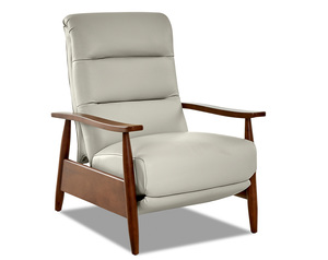 Aaron Leather Modern Push Back Reclining Chair (3 Colors)