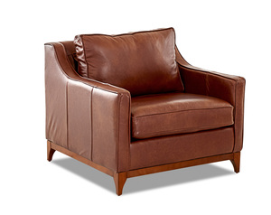 Ansley Leather Wood Base Accent Chair and Ottoman (3 Colors)