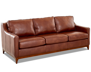"Ansley 86"" Leather Wood Base Sofa (3 Colors)"