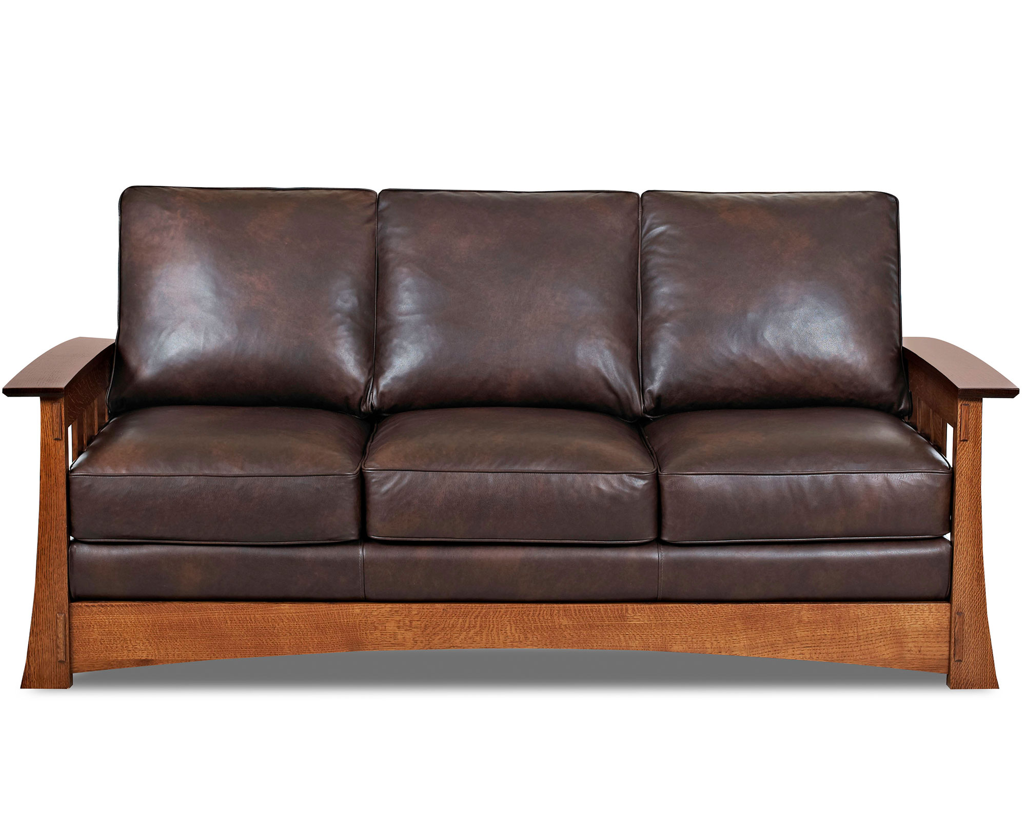 Wood Trimmed Mission Leather Sofas