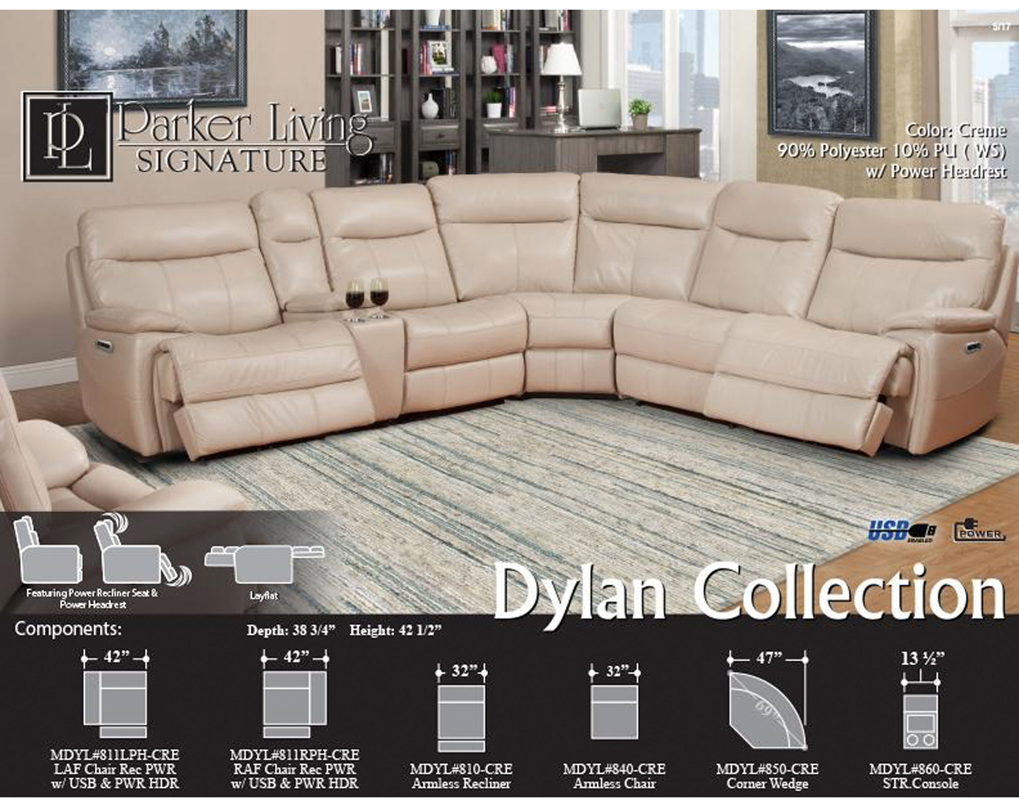 Excellent Dylan Creme 6Pc Reclining Sectional With Power Sofas And Inzonedesignstudio Interior Chair Design Inzonedesignstudiocom