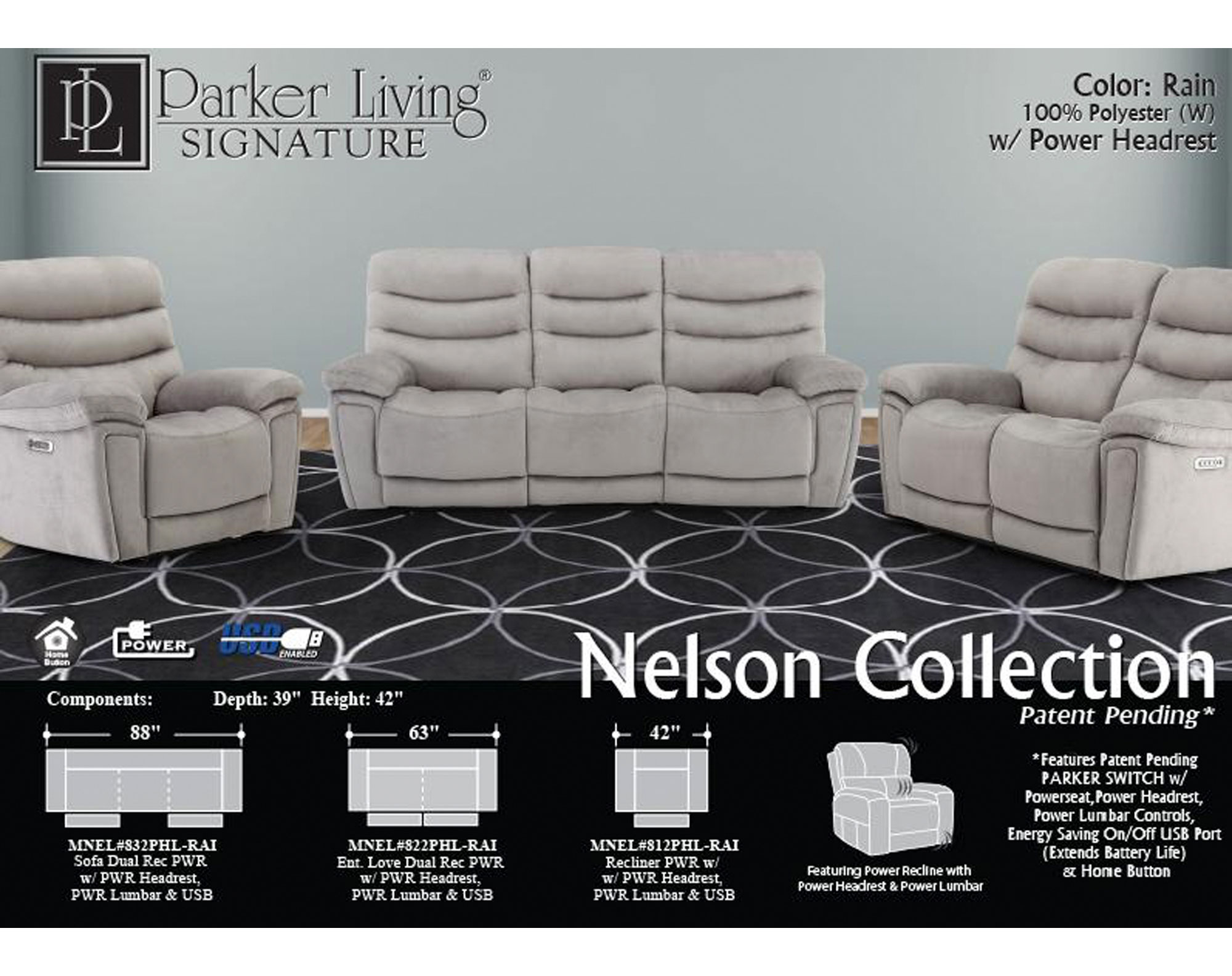 Outstanding Nelson Rain Power Reclining Sofa With Power Sofas And Dailytribune Chair Design For Home Dailytribuneorg