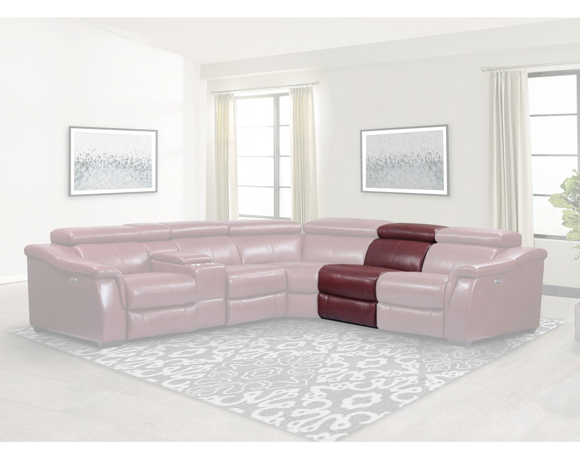 Newton Crimson 6pc Leather Power Reclining Sofas And