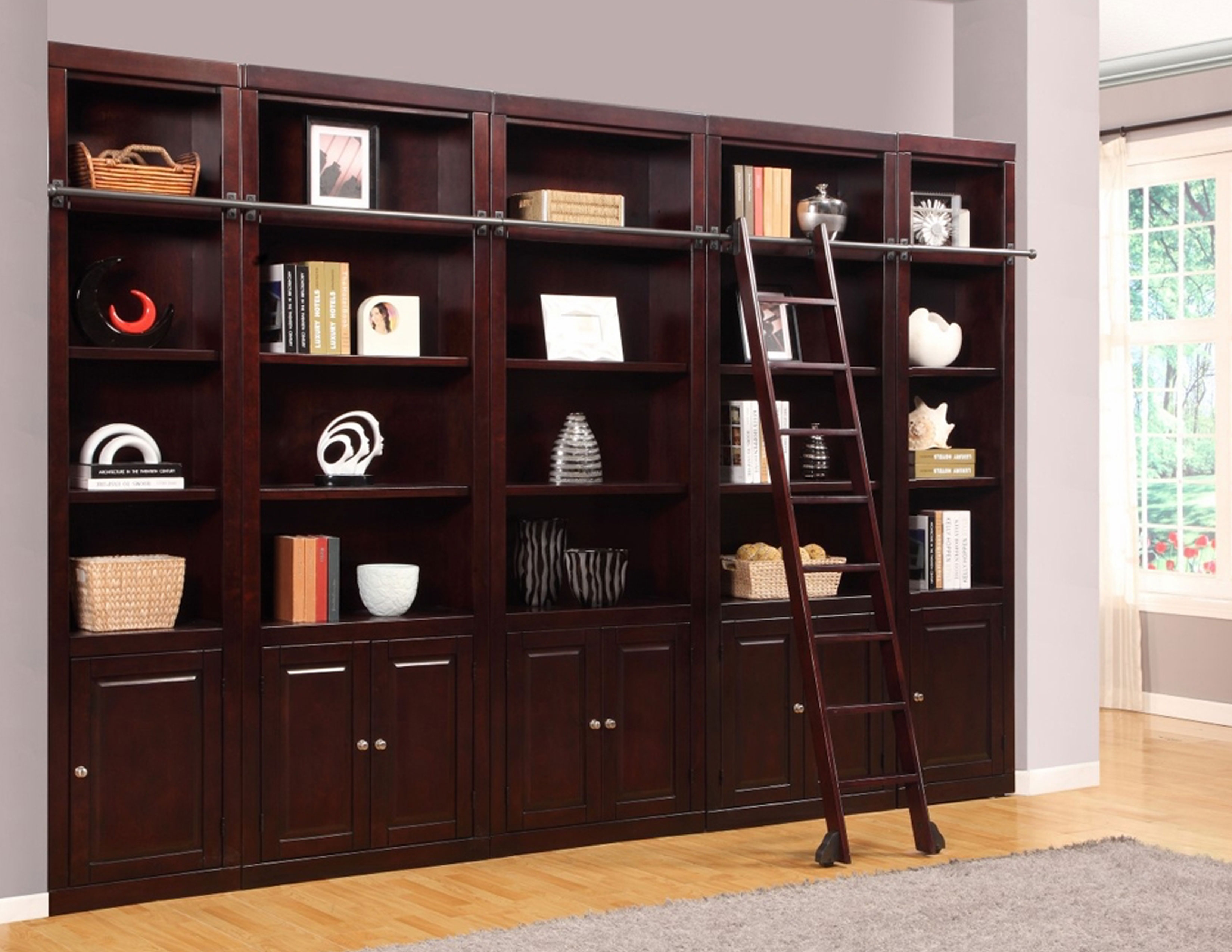 Boston 6 Pc Library Bookcase Wall In Merlot Sofas And
