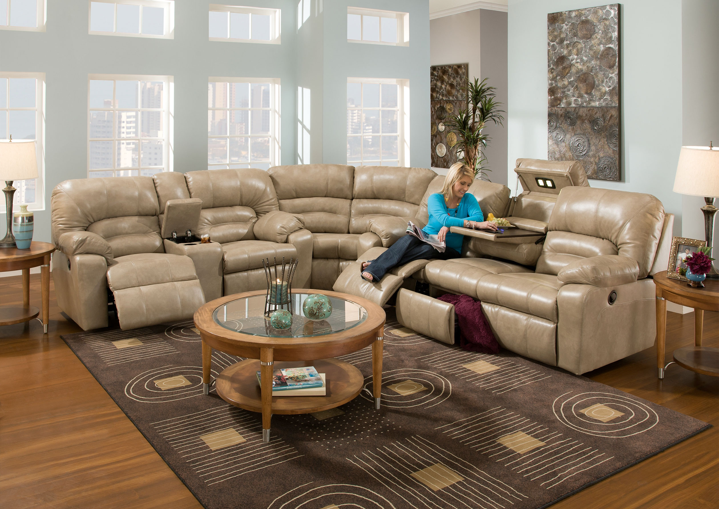 Enjoyable Dakota 596 Reclining Sectional Java Or Putty Sofas And Ibusinesslaw Wood Chair Design Ideas Ibusinesslaworg