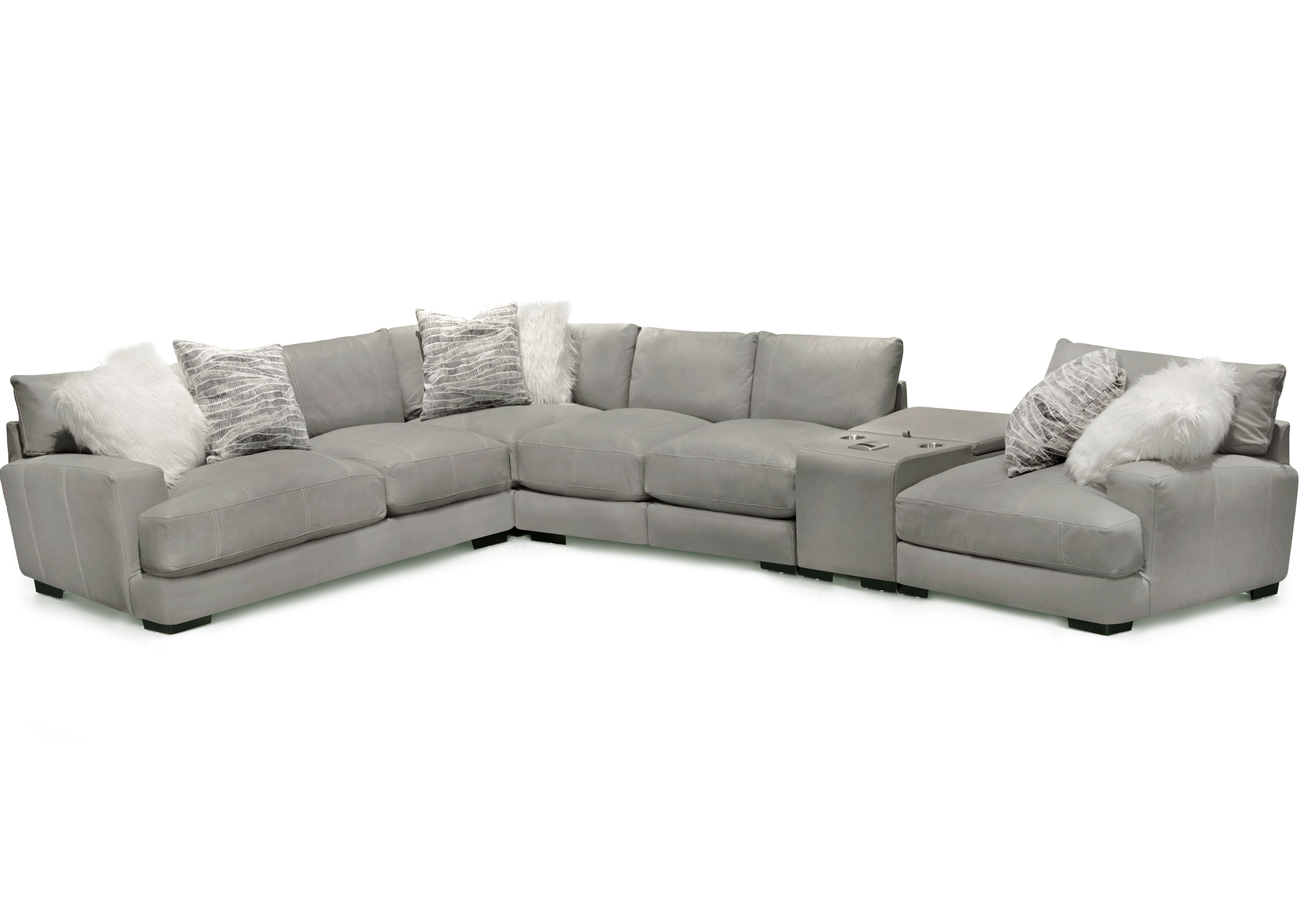 Antonio Leather Modular Sectional with Wireless | Sofas and ...