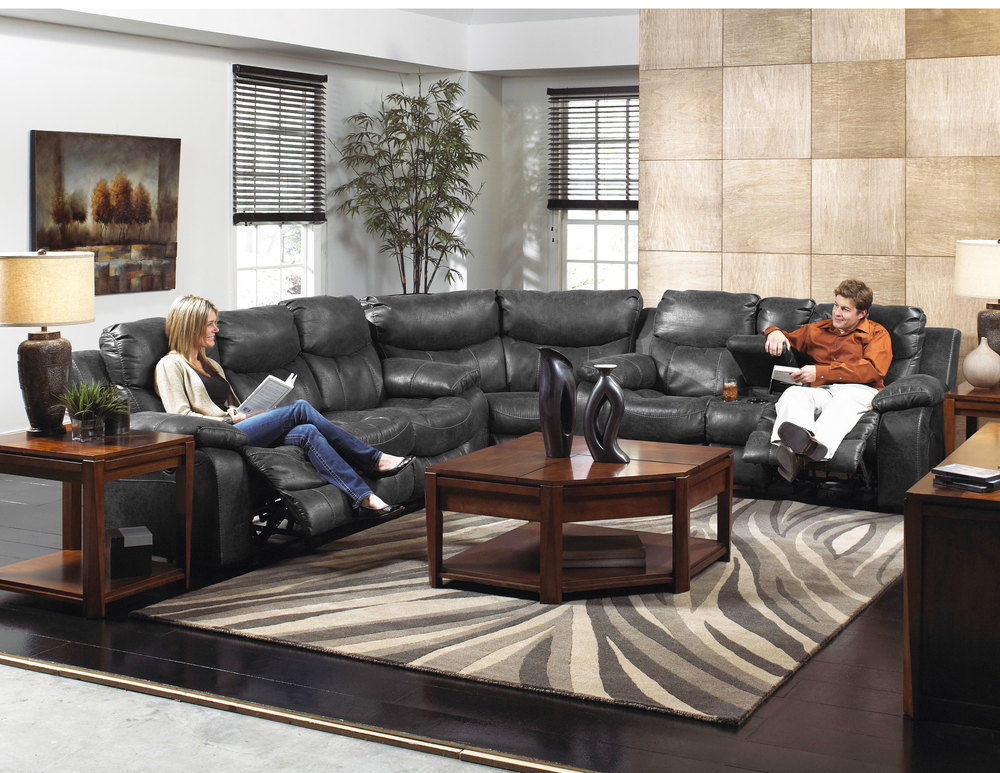 Fantastic Catalina Reclining Sectional In Steel Leather Sofas And Pdpeps Interior Chair Design Pdpepsorg