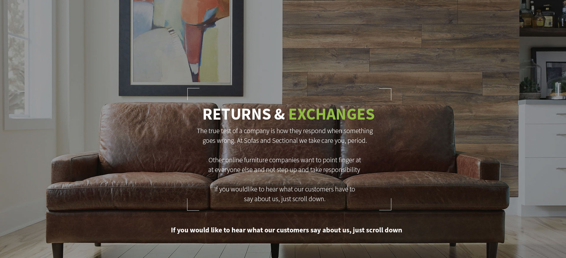 Return Policy Sofas and Sectionals
