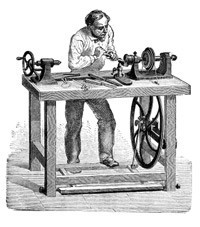Engraving of Antique Lathe