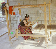 Cambodian Woman on Homemade Loom