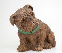 Antique Whittled Wood Bulldog with Green Collar