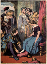 Cinderella Illustration from Old Fairy Tale Book