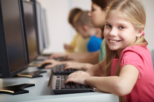 Girl in Typing Class