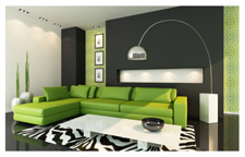 Green Modern Sectional Room Rendering