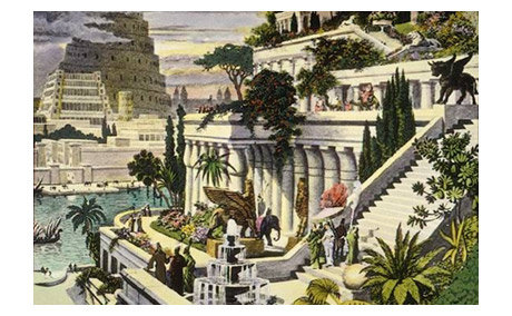 16th Century Painting of Hanging Gardens in Babylon