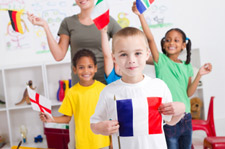 Kids in an English Class with Flags