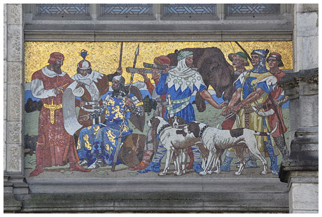 Mosaic of Noblity Going on a Hunt